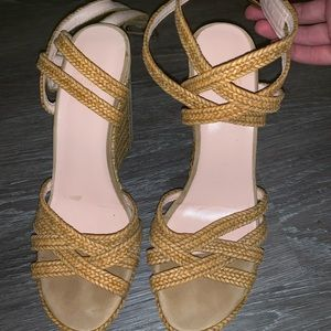 woven wedges with ankle strap